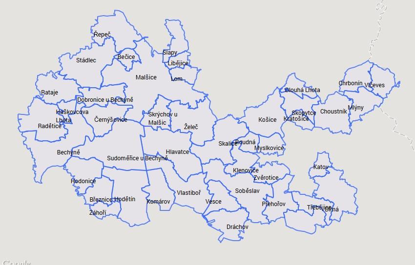 Mapa území MAS Lužnice