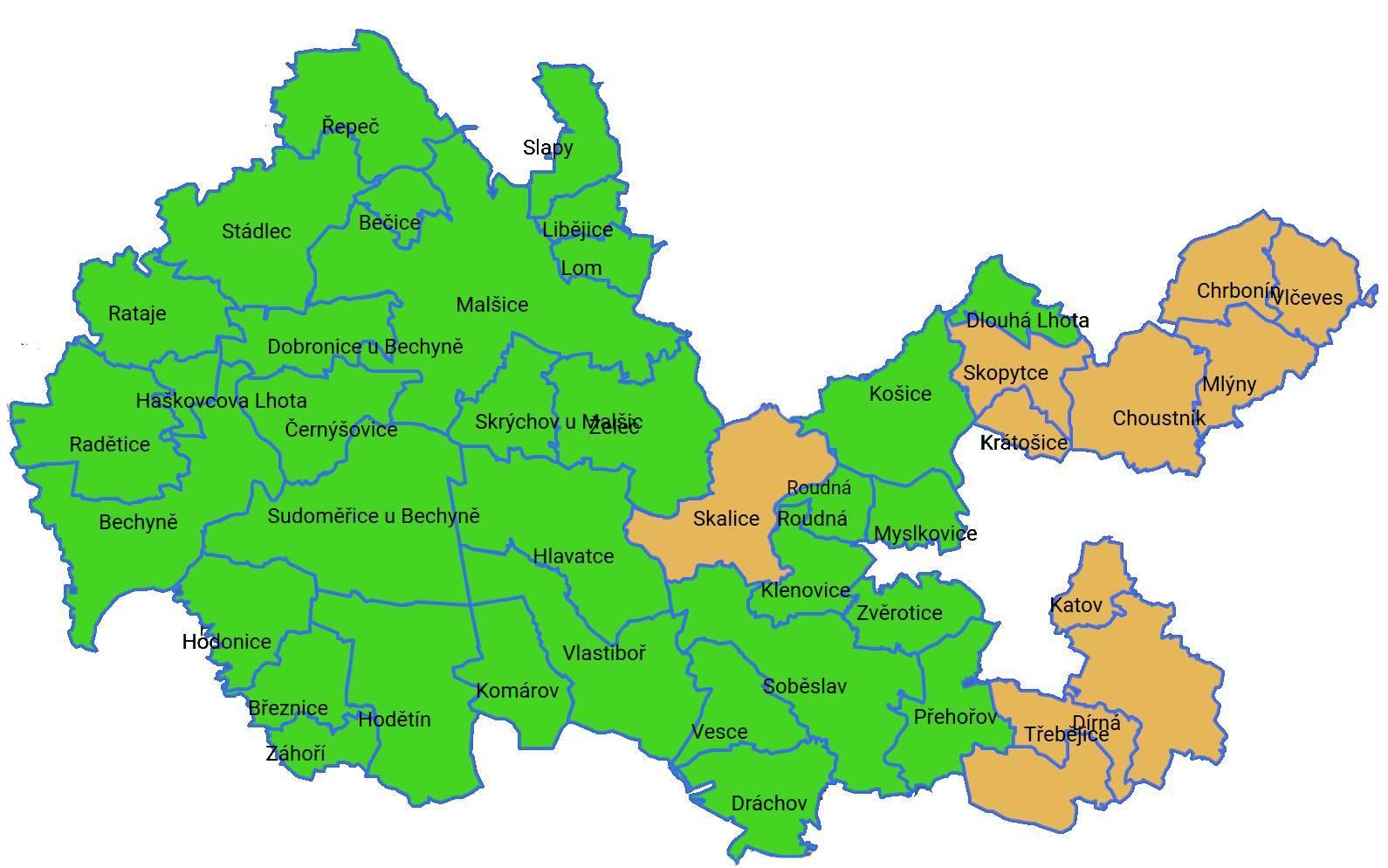 Mapa území MAS Lužnice, z.s. 2021 - 2027